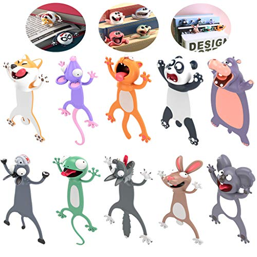 3D Cartoon Animal Bookmarks Novelty Book Mark Wacky Cute Reading Bookmarks for Teens, Boys and Girls Students Gifts (10 Pcs)