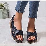 HYWL Sandalias de Cuña para Mujer Verano Sandalias de Punta Descubierta Zapatillas de Plataformas Cuero Cómodo Zapato de Playa Moda Mules,Blue,40