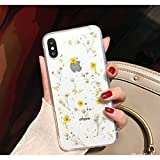 Crystal_phonecase Sparkly Pressed Dried Flower Handmade Real Natural Fresh Resin Clear Case for Samsung Galaxy S4 S5 S6 S7 S8 S9 Note34589 (Yellow, Samsung S6)