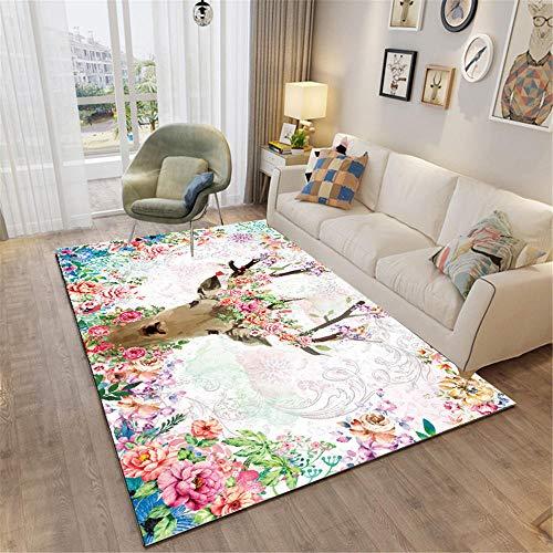 moqueta terraza Rosa Alfombra de Sala de Estar Rosa Flor y Ciervos Soft Alfombra Antideslizante Alfombra Impermeable Infantil 200x300cm Alfombra Silla Gaming 6ft 6.7''X9ft 10.1''