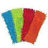 Delidge 4 Pack Microfiber Mop Pads Mop Refill Heads for Dust Mops Wet/Dry Mops Floor Super...