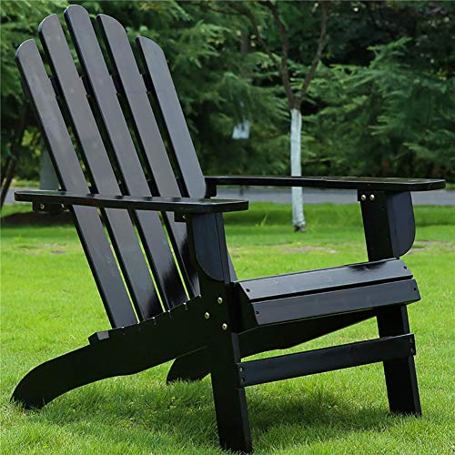 Adirondack Chair Extra Wide Patio, Wooden Heavy Duty Garden Sun Lounger for Balcony, Pool, Lawn, Support 220lbs (Color : Black)