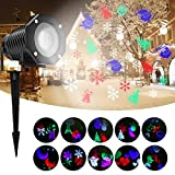 Outdoor Projection Light - High Waterproof Auto Rotating Spotlight with 10 Rotating Multicolor Slides - Lighting GOBO Lawn Lights Garden Path Party for Birthday, Wedding, Christmas Decor