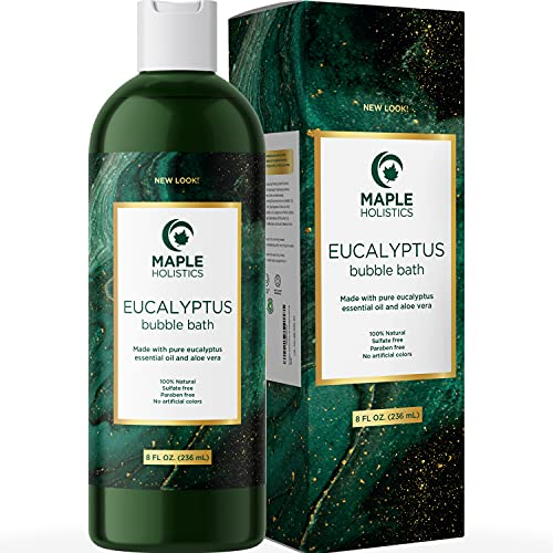 Foaming Eucalyptus Bubble Bath Soap - Sulfate Free Adult Bubble Bath for Women and Men with Relaxing Essential Oils Plus Vitamin E for Body Care - Bath Oil for Dry Skin Featuring Aromatherapy Oils