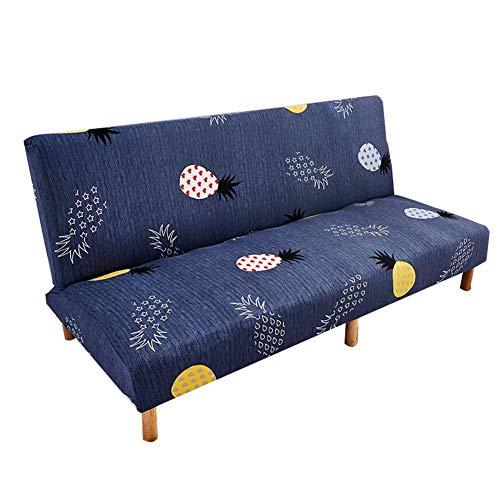 Exuberanter - Funda para sofá o Cama sin reposabrazos de 3 plazas, Funda para sofá Cama, Plegable, Estampado de sofá, Fundas elásticas, Azul/Amarillo/Gris