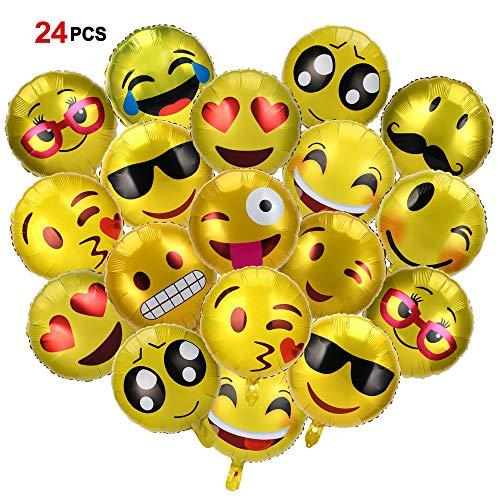 Howaf 24 Pezzi 45 cm Elio Palloncini Colorati Emoji Emoticon Palloncini Matrimonio Palloncini Compleanno Decorazioni per Feste, Baby Shower Festa di Natale, Cerimonia