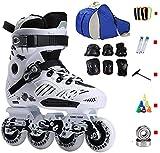 Roller Skates en Ligne Adultes Hommes et Femmes débutants débutants Respirant Absorbant la Sueur Lavable Lavable 4 Patins Ronds pour Les Femmes et Les Hommes (Color : White, Size : CN-38)
