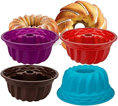 Nicunom 4 Pack Silicone Baking Molds 9 Silicone Bundt Cake Pan Kugelhopf Bundt Pan Mold Nonstick product image
