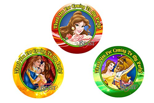 12 Beauty and The Beast Birthday Party Favor Stickers (Bags Not Included) #1