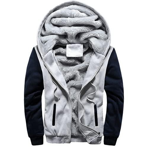 Chaqueta con capucha para hombre de forro polar grueso y cálido con capucha con cremallera para hombre