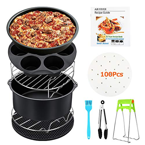 11 stks Air Fryer Accessoires voor Gowise Phillips en Cozyna, Universele Air Fryer Accessoires Kit met Recept Inclusief Niet Stick Cake Pan,Silicone Mat,Pizza Tray, Grill, Cake Bucket,Fit all 3.2QT-5.3QT-5.8QT 7 Inch