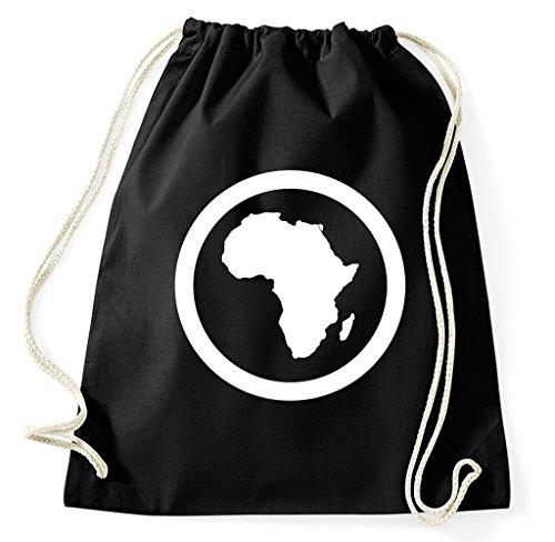 Styletex23 Afrika Kontinent Logo Turnbeutel Sportbeutel, schwarz