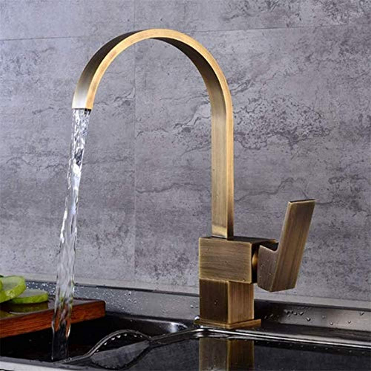 Kitchen Sink Faucet, Brass hot and Cold Faucet Sink Faucet Vegetable wash Basin Sink Faucet 360 Degree redating Faucet