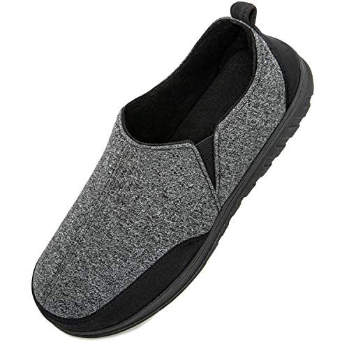 LongBay Comfy Cotton Knit Slippers Breathable Sport Memory Foam House Shoes with Anti Skid Rubber Sole (Medium / 9-10, Black)
