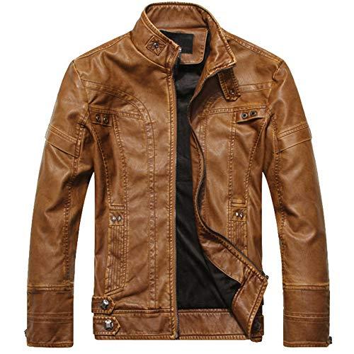 GITVIENAR Herren Lederjacke Top-Modell Fashion Winterjacke/Herbstjack PU-Lederjack discothe Style Jack für Männer & Jugendliche