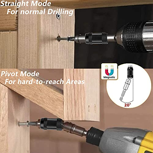 Pivoting Bit Tip Holder, Flexible Magnetic Screwdriver Bit Holder for Drill, Quick Change Locking Bit Extension with Spring Release Adjustable in 20 ° Rotation for Tight Spaces or Corners