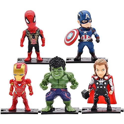 Avengers Cake Topper, 5 Pezzi Cake Topper per Supereroe Compleanno Decorazione Avengers Cake Topper Cake Topper Festa di Compleanno Decorazione Torta Forniture