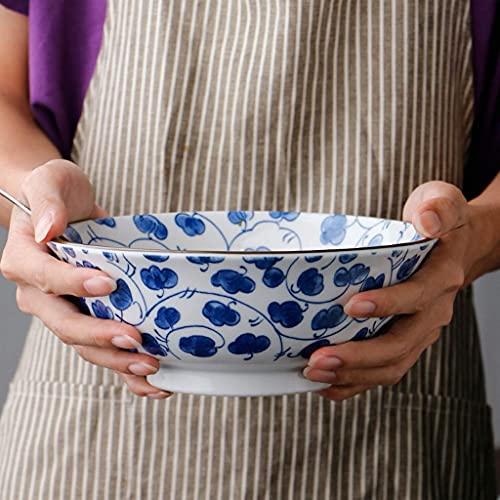GAXQFEI Cuencos Fruta Cerámica Cerámica Ramen Tazón Azul Y Blanco Restaurante Porcelana Alto Sopa Sopa Fruta Ensalada Cuenco Hogar,D