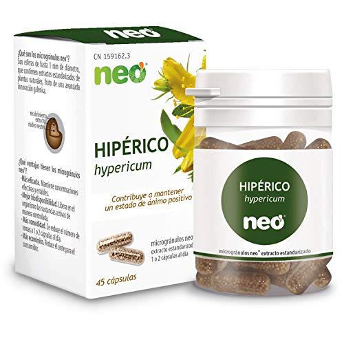 NEO |Extracto de Sumidades Floridas de Hipérico | 45 Cápsulas Naturales | Para Mejorar el Estado de Ánimo y Disminuir la Fatiga | Libre de Alérgenos y GMO | Tomar 1 o 2 al Día | Liberación Rápida