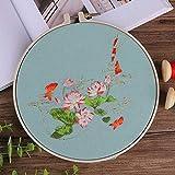 Flor de loto chino kit de bordado de bricolaje con patrón de aro costura impresa punto de cruz bricolaje costura pintura artesanía decoración del hogar, aro de plástico de 3,20 cm
