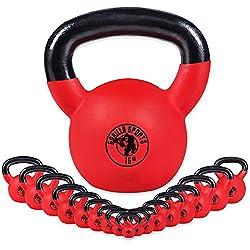 GORILLA SPORTS® Kettlebell 12 kg Vinyl – Kugelhantel Red Rubber aus Gusseisen mit Neoprenhülle - TÜVRheinland Zertifiziert