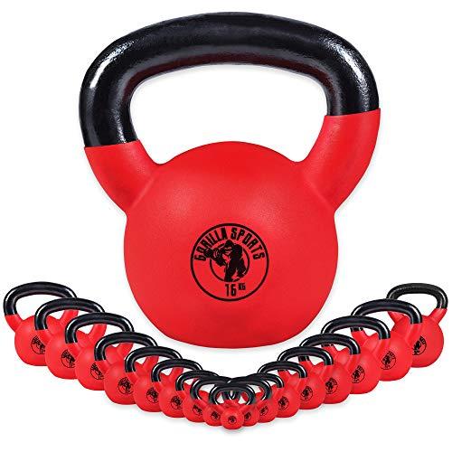 Gorilla Sports® Kettlebell - Peso a Scelta 2-32 kg e Set di 144 kg, di Ghisa, Rivestito in Neoprene Rosso, Maniglia Ergonomica, Base Piatta - Pesi, Peso con Maniglia, Fitness, Palestra (20 kg)