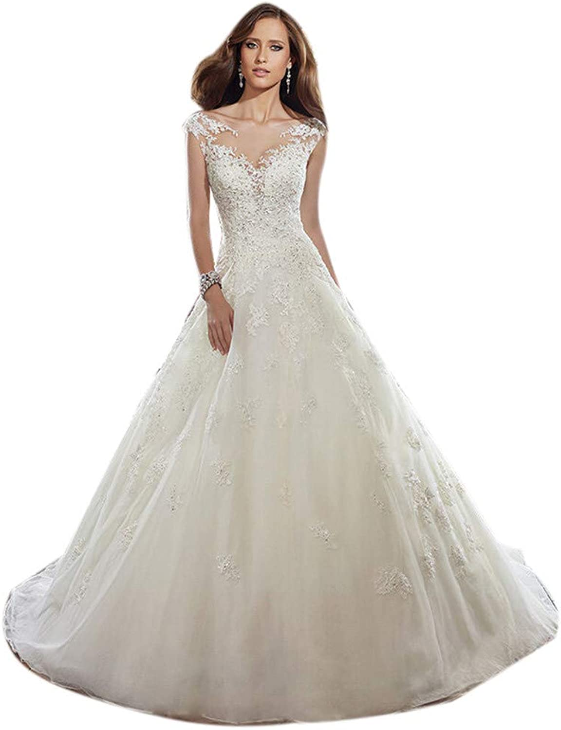 Women's V Neck Sleeveless Bridal Gowns Backless Lace Hollow Chapel Train A Line Wedding Dresses