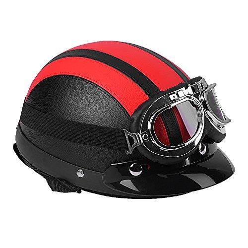 Casco mezzo aperto moto, casco mezzo mezzo di protezione in pelle vintage Casco mezzo casco anteriore stile ciclismo con visiera e occhiali UV(Red)