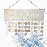 VORCOOL Calendario, DIY Madera Calendario Cumpleaños Aniversario Recuerdo Colgar Placa Placa de decoración (Vaciar/1/1cuerda/50Discos Redondas)