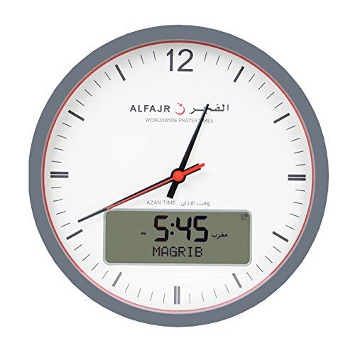 Alfajr Large Round Wall Ana-Digi Automatic Azan Athan Prayer Clock Qibla Muslim CR-23