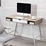 Bonzy Home Home Office Desk, Computer Desk with Drawer, Writing Study Table 43 inches, Walnut White