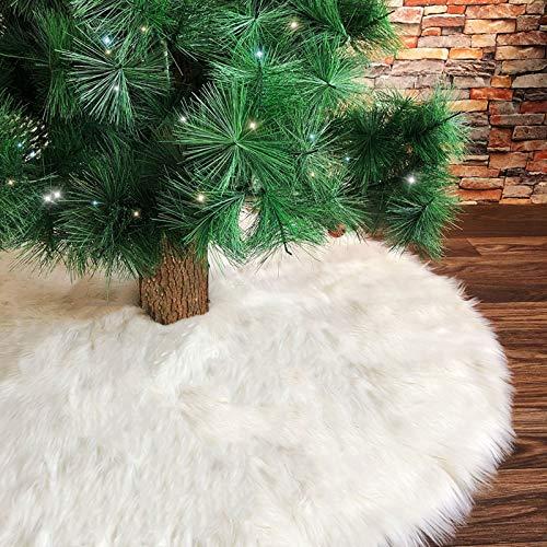Deggodech 78cm Jupe de Sapin de Noël en Peluche Blanc Couvre Pied de Sapin de Noel Jupe d