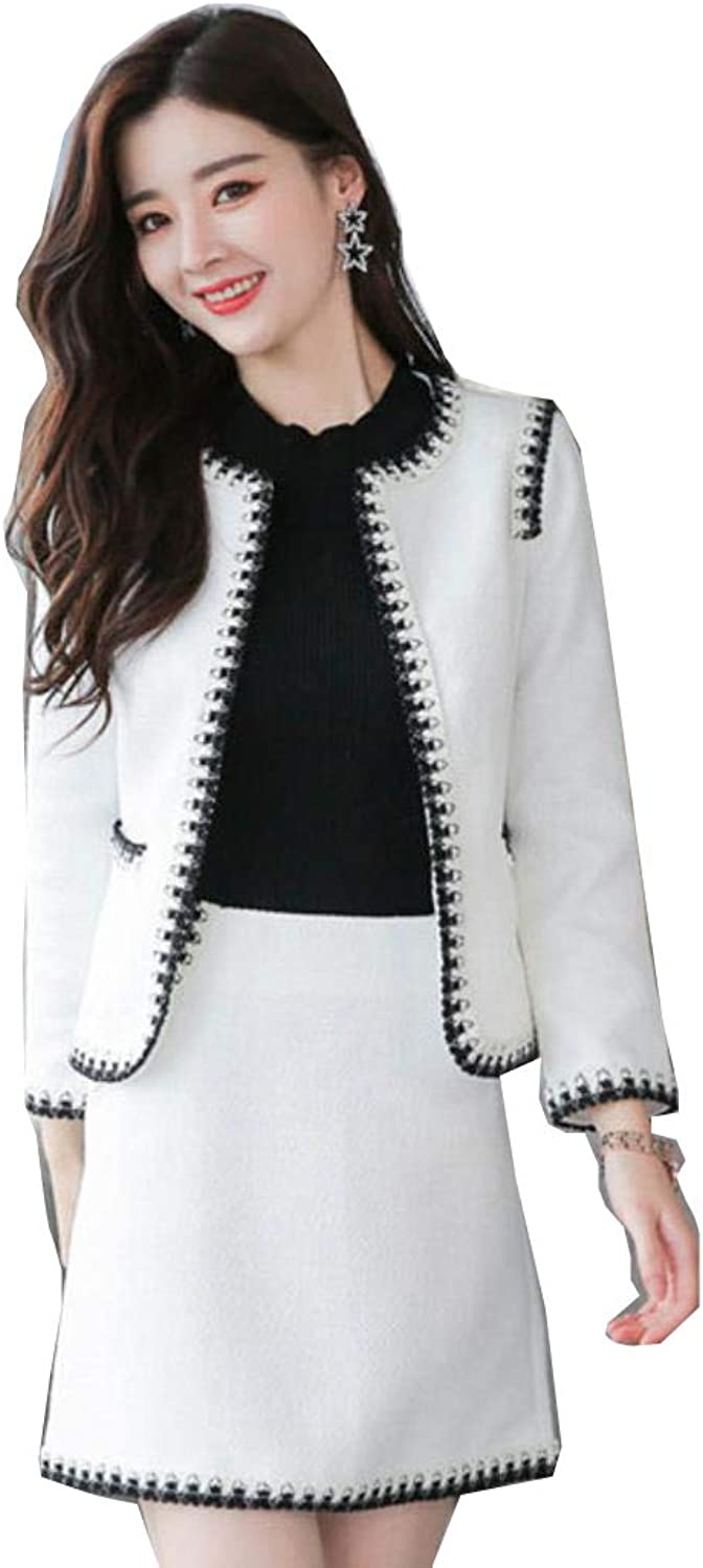 VCENIS 2 Pieces Suit Women Spring Autumn Long Sleeve Jacket with Mini Skirts