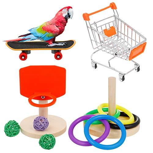 AKlamater Vogel-Trainings-Spielzeug-Set, 4 Stück, Papageien, Intelligenz-Spielzeug, Mini-Einkaufswagen, Basketball, stapelbarer Ring, Skateboard für Wellensittiche, Nymphensittiche