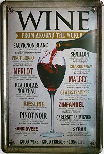 Wine from around the world Redwine Whitewine Wein 20x30 cm Bar Blechschild 749