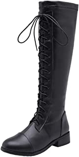 Womens Under Knee High Boots Combat Lace Up Motorcycle Riding Round Toe Leather Flat Booties