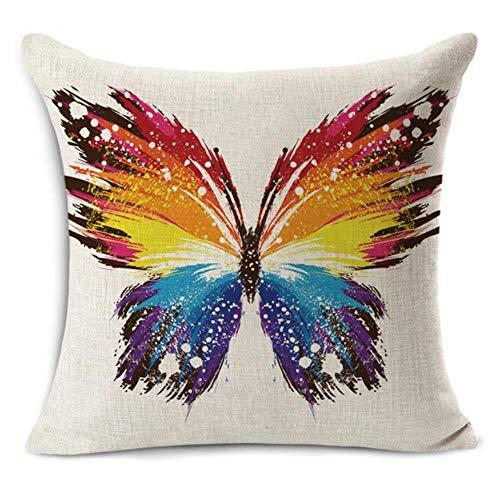 Ving Euro klassieke stijl Retro vlinder print Linnen katoen decoratieve sierkussen Decoratie Vintage kussensloop, legergroen, 45x45cm kussensloop