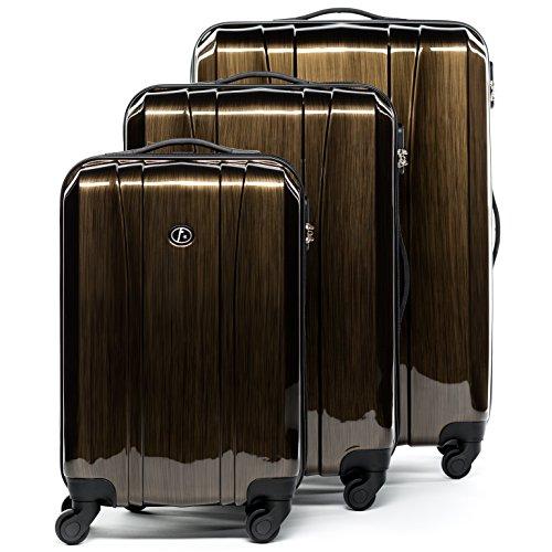 FERGÉ Kofferset Hartschale 3-teilig Dijon Trolley-Set - Handgepäck 55 cm, L und XL 3er Set Hartschalenkoffer Roll-Koffer 4 Rollen Bronze