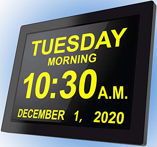 [2020 Upgraded] Digital Day Clocks,16 Reminders,Custom Alarms, Electronic Calendar for Memory Loss Elderly Dementia Sufferers Alzheimers Wall Vision Impaired Patients Kids Room (8'' Black)