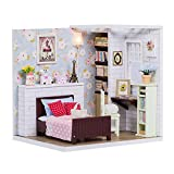 ROBOX DIY Miniature Dollhouse Kits 1/24 Scale Craft Models for Kids Cute MiniDoll House Tiny Building Pink Floral Gifts for Girls Bedroom with Furniture and Accessories