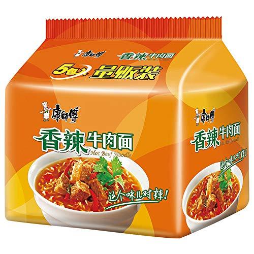 泡面 香辣牛肉面 方便面 インスタント麺 康师傅 经典系列 香辣牛肉面 五连包 99g*5袋