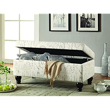 Coaster Transitional Off-White/Grey French Script Storage Bench