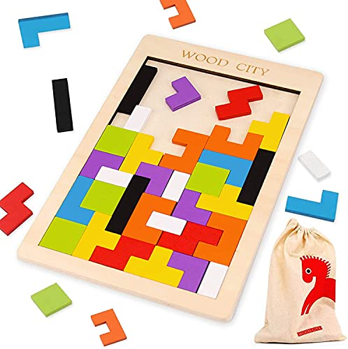 Wooden Blocks Puzzles Brain Teasers, Tangram Puzzles & Educational Toys for Toddlers Age 3 5 7 10, Colorful Russian Blocks with a Storage Bag, Perfect Montessori & Stem Toys Gift for Kids (40Pcs)