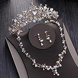 SSLL Schmuckset Kristall Perlen Perle Brautschmuck Sets Strass Diadem Diademe Halskette Ohrringe Krone Hochzeit Schmuck