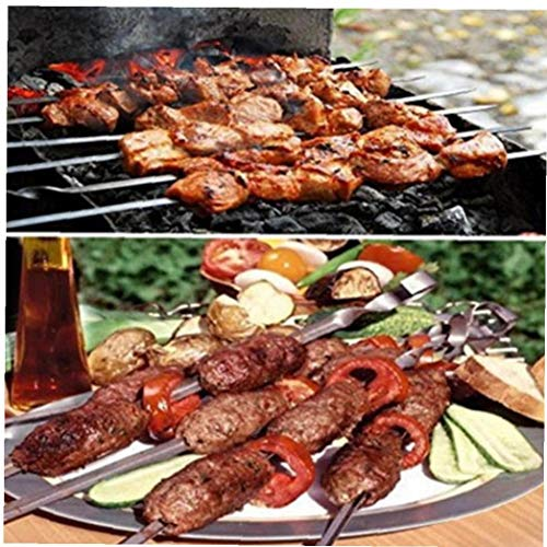 TOSSPER Kebab Pinchos, 10pcs Palillos De Acero Inoxidable Barbacoa Planas para Barbacoa Cóctel Esencial Shish Kabob Partido Picnic