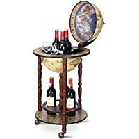 COSTWAY Minibar Globo Terráqueo Diseño Retro Estante del Vino Cóctel Whisky Bar Carrito de Bar con Ruedas Multicolor