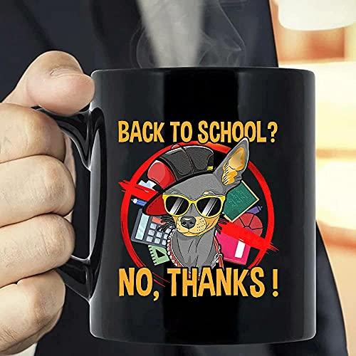 Back to School - Gafas de sol de perro Chihuahua A Coffee Mug - Las divertidas tazas de café para Halloween, día festivo, Navidad, fiesta, decoración, 11 – 15 onzas blanco/negro