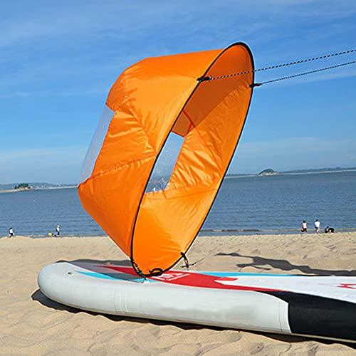 zhgzhzwlf Kit de vela de viento plegable de 106,7 cm, para kayak, vela, vela, vela, vela, vela, resistente al viento, con ventana de PVC transparente, para kayak, barco, velero, canoa, color naranja
