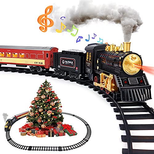 Train Set for Boys Girls - Alloy Electric Toy Train Including Passenger Coach with Lights, Steam Locomotive with Realistic Sounds & Headlight, Coal Car - Christmas Train Sets Under The Tree Gift