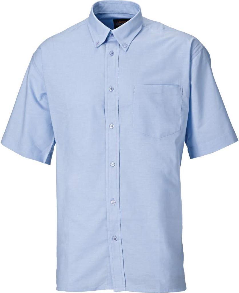 Dickies SH64250 BU 15+ - Camisa de manga corta, estilo Oxford, color azul, talla 39, gris, SH64250 SV 18